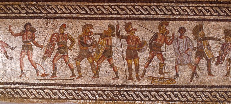 Detail of Circus Games from a Roman Mosaic Showing Amphitheater Scenes from Leptis Magna --- Image by © Roger Wood/CORBIS