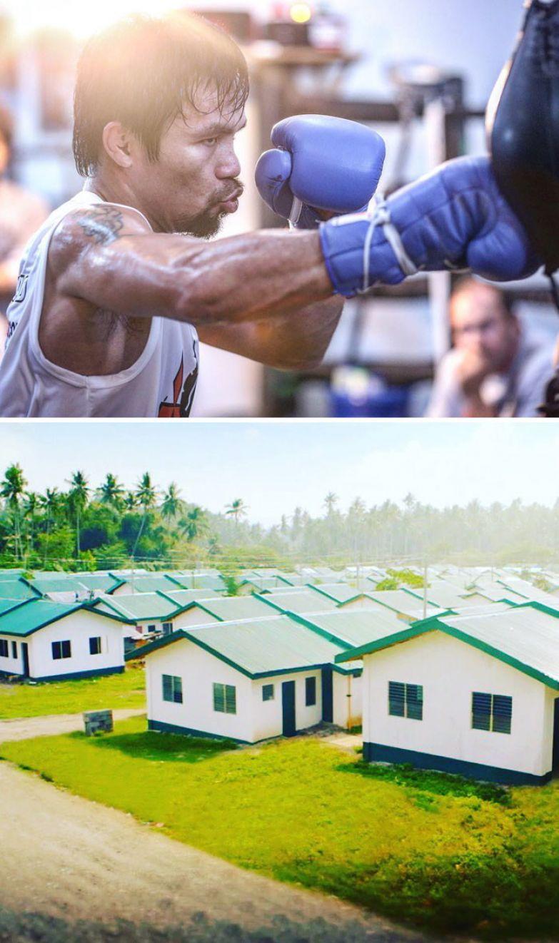9. Боксер Мэнни Пакьяо построил 1000 домов для нуждающихся филиппинцев доброта, мир, поступок
