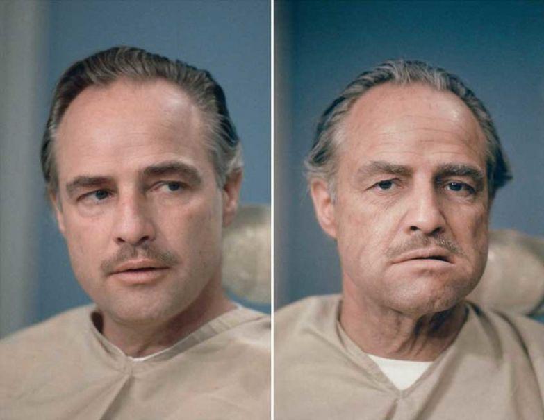 14. Марлон Брандо до и после нанесения грима для «Крестного отца»: интересные фото, удивительное рядом, факты