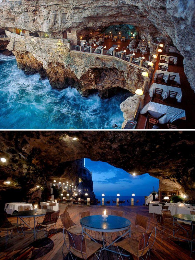 Ресторан в пещере, Grotta Palazzese, Апулия, Италия мир, подборка, ресторан