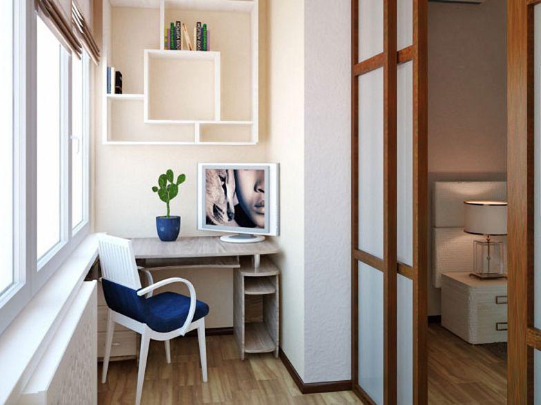 Кабинет на балконе с раздвижными дверьми фото