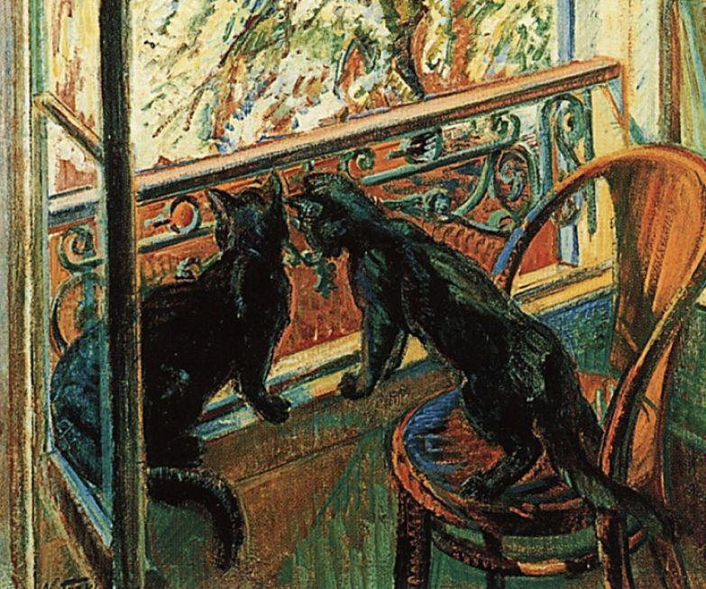 Николай Тархов. Кошки у окна. 1909.