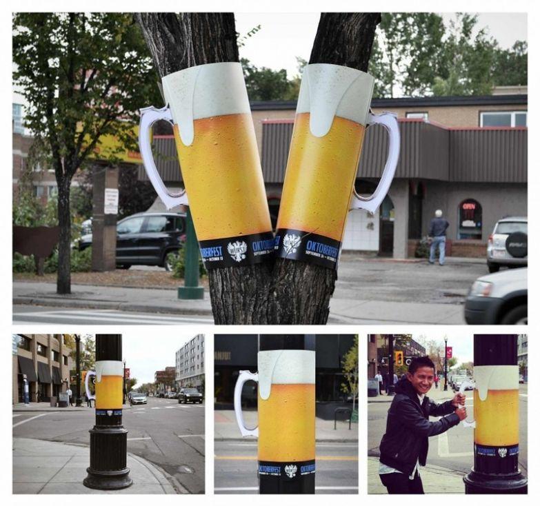 """9. Эти гигантские кружки рекламируют пивной фестиваль """"Октоберфест"""" интересно, креативная реклама, рекламные, трюки"""