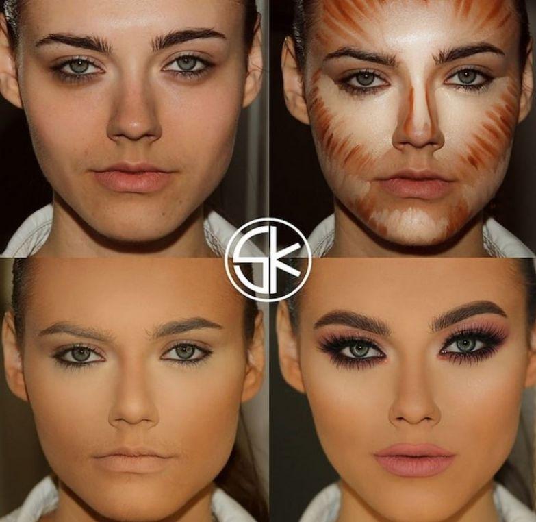 11. Эта похожа на льва до и после макияжа, контуринг, макияж