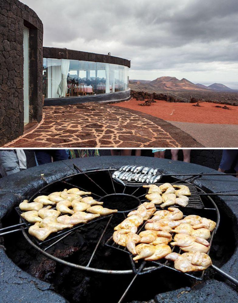 Ресторан, где пищу готовят над кратером вулкана, El Diabolo, Лансароте, Испания мир, подборка, ресторан