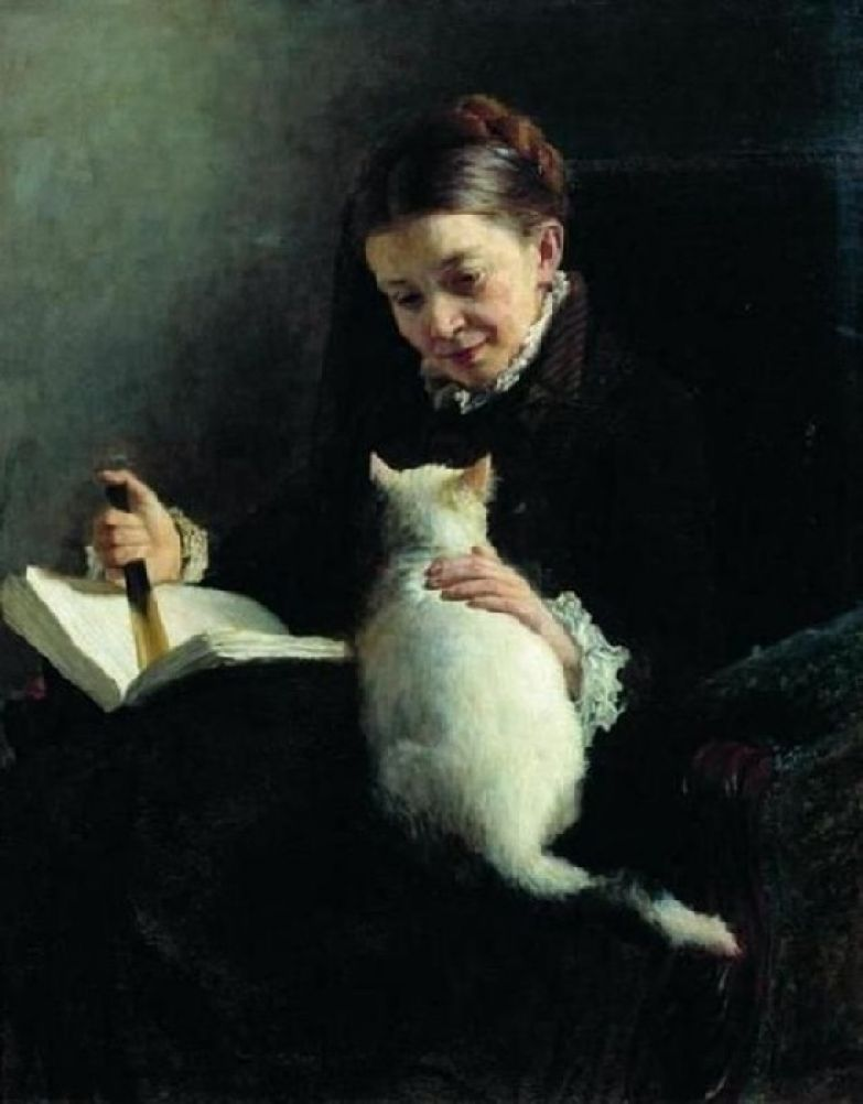 Николай Ярошенко (1846-1898), Женщина с кошкой.