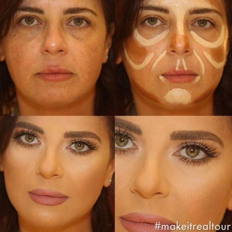 5. Женщина стала выглядеть гораздо моложе до и после макияжа, контуринг, макияж