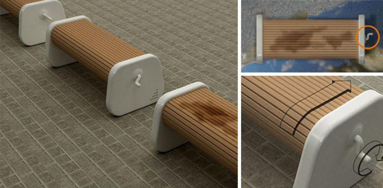 Скамья с прокручивающимся сиденьем позволяет сразу после дождя сидеть на сухом нестандартно, оригинально, проблемы, решения