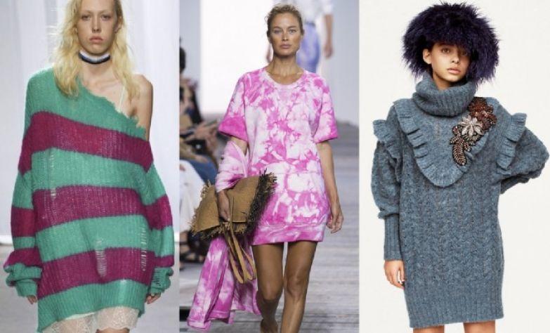 Какие платья свитера самые модные в 2018 году - на одно плечо, платье-свитшот, оборки, аппликации, рукав эпископа