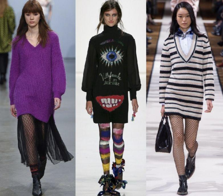 тренды платьев свитеров 2018 - с шифоновой юбкой, полосатый рисунок, живописный декор