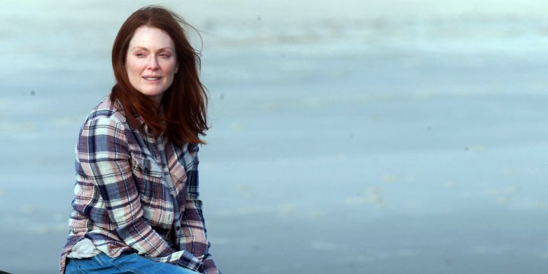 "NEW YORK, NY - MARCH 20: Julianne Moore filming ""Still Alice"" on March 20, 2014 in Long Island, New York. (Steve Sands/GC Images)"